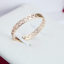 Titanium steel hearts Rose gold hollow out Heart Thin Ring for jewelry making accessories 1pc(China)