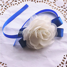Pick Ribbon 2pcs Handmade Silk Boutonniere Prom corsage Artificial Rose Bride Wrist Flower Wedding Church Decor White 8 Color(China)