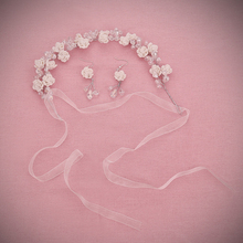 Greek style white rose Headbands wedding pageant Girls tiara Crystal Hair Band bridal headpiece jewelry