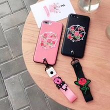 Korea Super Fashion Cute Pentacle Embroidery Flowers With Lanyard Cortex Case Cover For Iphone6 6S 7 6Plus 7Plus