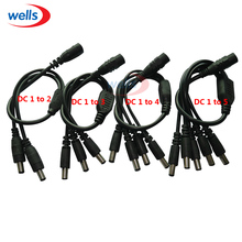 1pcs CCTV Security Camera 1 DC Female To 2/3/4/5 Male plug Power Cord adapter Connector Cable Splitter for LED Strip(China)