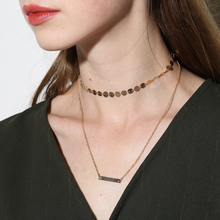 Fashion Double Layer Link Chain Pendant Choker Necklace Copper Dangling Swing Pendant Necklace for Women