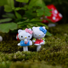 7pcs Kawaii Hello Kitty Figurine Dollhouse Decor Miniatures Bonsai Terrarium Succulent Gnomes Plants Resin Craft Home Decoration