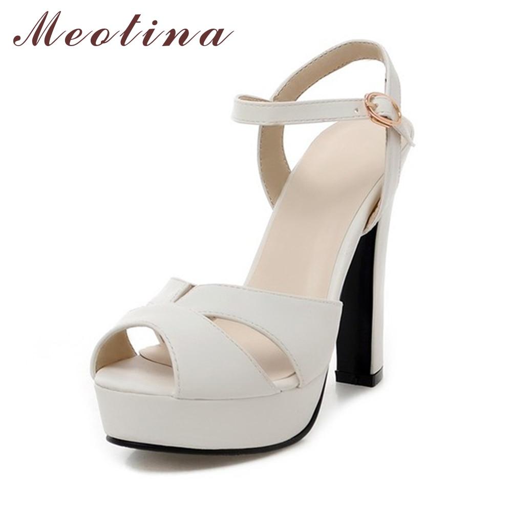 Meotina Women Sandals 2017 Chunky Heel Platform Sandals Women Shoes High Heel Summer Sandals Wedding Shoes Ladies White Size 10 <br><br>Aliexpress