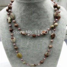 Free shipping  hoyt style pure hand working made natural  ocean brown jasper   on silk necklace