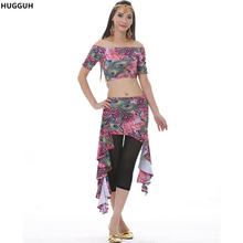 New Hot Sale Women Crop Top Printing Pattern Skirt Belly Dance Costumes Belly Dancing Set Black Casual Pants WN168252