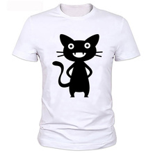 New Arrival Mens Funny Black Naughty Laughing Cat Design Animal T shirt Cool Tops Short Sleeve Hipster Tees(China)