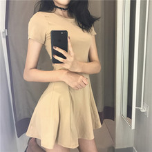 Retro Hong Kong taste chic wind solid color temperament summer wild round neck high waist short sleeve(China)