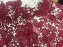 2016 new arrival design lace fabric,Dark red crochet lace fabric, emerald lace fabric, venice lace fabric five yards