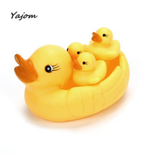 Swimming bath duck Mummy & Baby Rubber Race Squeaky Ducks Family Bath Toys for children Kid Game Toys May 18