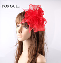 Red or multiple colors sinamay  hats feather flower fascinators for party hats bridal hair accessories  cocktail hats OF153509