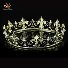 Peacock Star Full Circle Gold Color Prom Accessories King Men's Crown Round Imperial Medieval CT1747