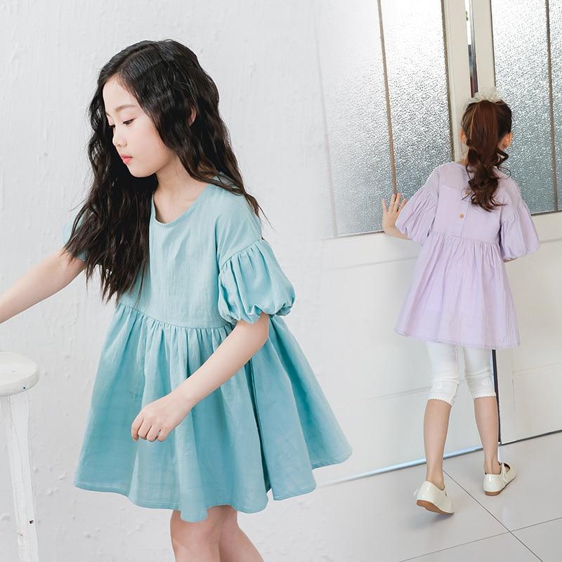 cotton princess girls dresses summe spring 2017 kids clothes lantern sleeve girl dress purple clothing for little teenage girls<br><br>Aliexpress