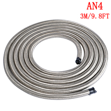 3 Meter AN4 Stainless Steel Oil Hose Fuel Hose Line Double Braided Fuel Line Universal Car Turbo Oil Cooler Hose End 10FT Hose