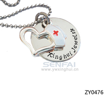 Custom Engraved Plate Name Necklace,RN Nurse Jewelry Prayer Open Heart Hat Charm Pendant Necklaces,Initial Jewelry for Nurse(China)