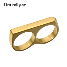 Tim Milyar Men Ring 3 Colors Gold&Silver&Black Double Ring Stainless Steel Cool Fashion Punk Style Latest Design Ring