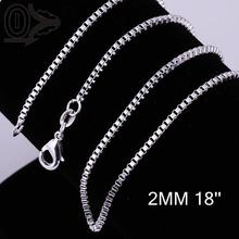 Wholesale 2mm 16'' 18'' 20'' 22'' 24'' 5 Size Silver Plated Chain,Wedding Accessories For Pendant,Fashion Box Chain Necklace(China)