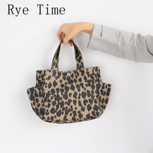 new arrivals women's canvas fashion leopard printing handbags light portable waterproof tote bags picnic food storage bag