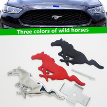 Free shipping High quality 3D Metal Mustang Running Horse car emblem logo Front Hood Grille badge Car styling Auto Accessories