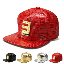 Luxury Faux Leather Diamond Crocodile hip hop DJ hat Gold Rhinestone E EMINEM Logo Snapback Hats men women Baseball Caps(China)