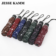 JESSE KAMM New Men Women Compact  Three  Folding Rain Travel Strong Frame ladies Female Star Tower  Pongee Fashion Umbrellas