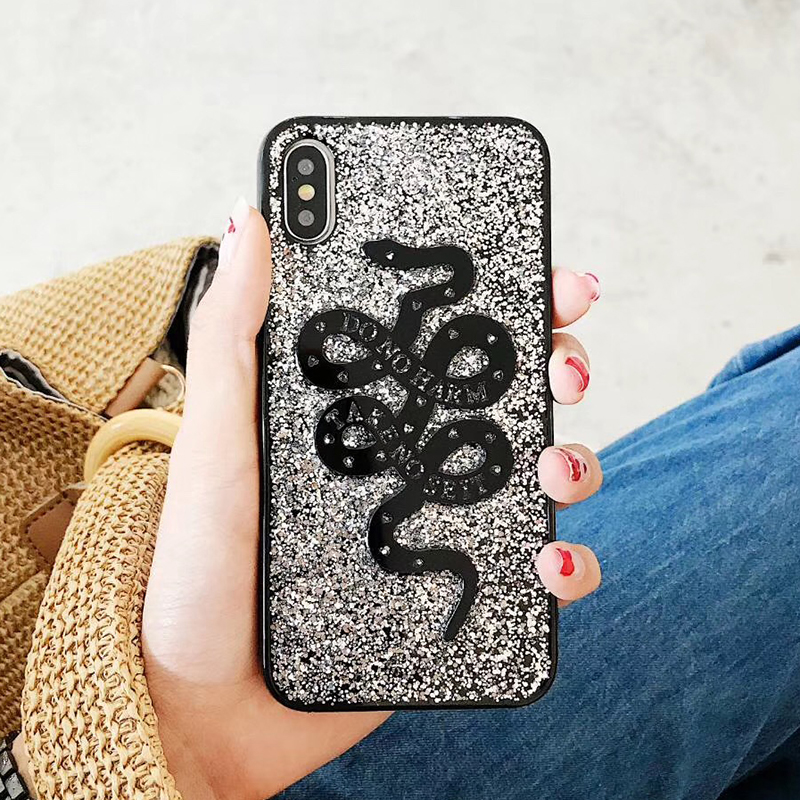Fashion Snake Animal Brand Silicon Soft Case for iPhone 6 6S plus 7 7plus 8 8plus X 10 Phone Case Glitter Cover Coque Hull (2)