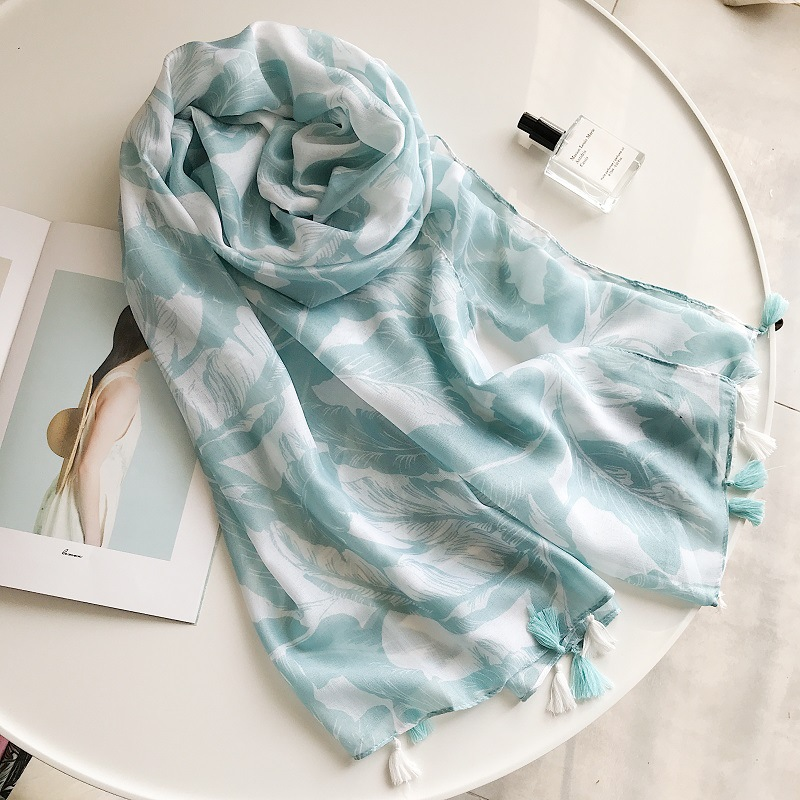 2018 Newest Women Big Leaf Print Tassel Scarf Shawl Wrap Cotton Leaves Hijab Muffler Wholesale 10pcs/lot Free Shipping