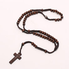 Men Women Catholic Christ Wooden 8mm Rosary Bead Cross Pendant Woven Rope Necklace Black/brown/Beige/ligt brown