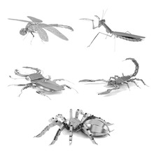 Metal Puzzle Mini Qute Piece Fun 3D Animal Insect Mantis Scorpion Stag Beetle Tarantula Dragonfly Adult Models Educational Toys
