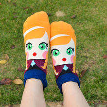 Summer thin Spring Autumn Ankle Socks Women Girls Princess Pattern Socks Cotton Socks 11 Colors(China)