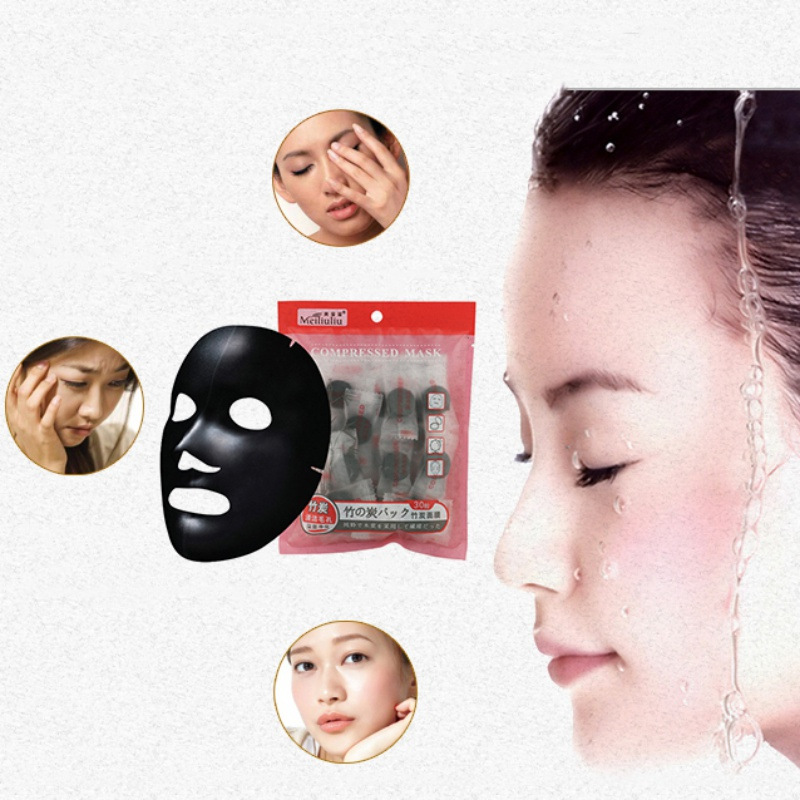 DIY Compressed Mask Paper Facial Natural Bamboo Charcoal Mask Paper Fiber Face Care Mask Paper Sheet 30Pcs(China)