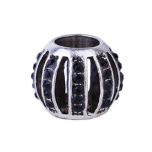 1Piece Silver Plated Hollow Ball Lantern Beads With Full Black Crystal Charm Beads Fit Pandora Bracelet & Bangle DIY Jewelry(China)
