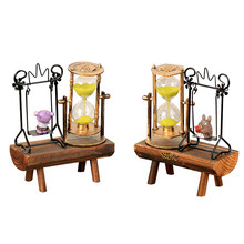 European Style Wood Figurine Crafts Home Decor Lucky Living Room Cabinets Decoration Wedding Gifts Hourglass kid Gifts