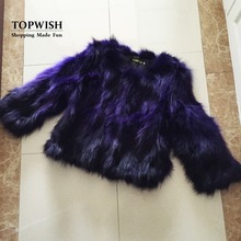 Natural Real Fox Fur Coat Genuine multi colors Fox Fur waistcoat Fashion Factory Wholesale Retail Customize Jacket TFP523(China)
