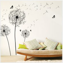 DIY New Design Large Black Dandelion Wall Sticker Art Decals PVC Wall Decoration Happy Gift High Quality PVC Home Decor dropship(China)