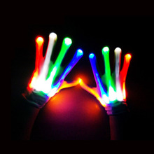 245 mm Colorful Magic glove Rainbow Flash Fingertip LED Gloves Unisex Light Up Glow Stick luminous Gloves Mittens Party supplies