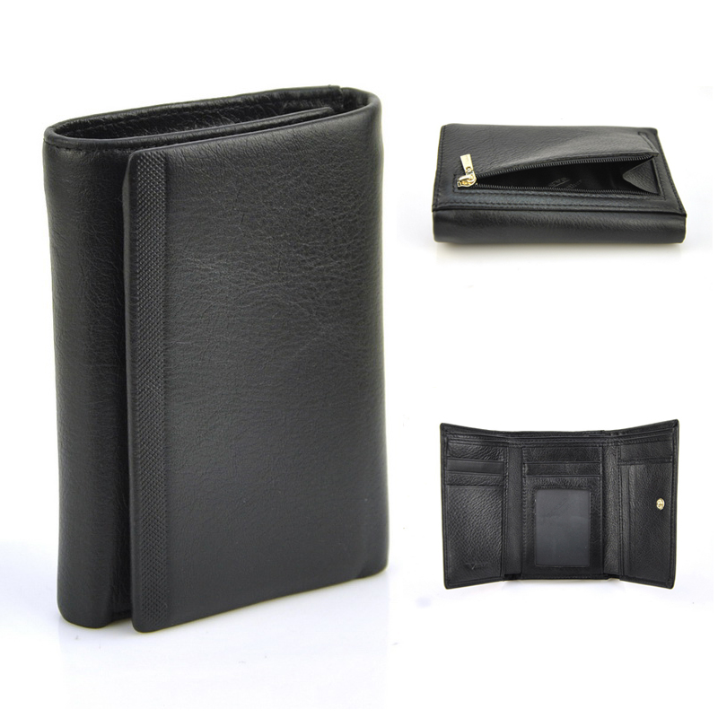 Women Genuine Real Cowhide Leather Trifold Wallet Vintage Retro Fashion Short Purse Zip Coin Credit Card Holder ID Photo Window<br><br>Aliexpress