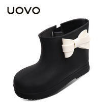 UOVO Brand 2017 New Children Rain Boots Girls Winter Boots Baby Bow Tie Rubber Kids Rain Boots  Waterproof Shoes For Little Girl