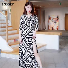 2017 Autumn Fashion Long Dress Women Stand Collar Sexy Wild Zebra Print 3/4 Sleeve Split Casual Party Feminion Dress De Festa(China)