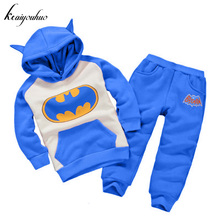 keaiyouhuo Toddler Boy Clothing Sets 2017 Winter Boys Clothes Batman Hoodie+Pants Costume Kids Girls Sport Suit Children Clothes