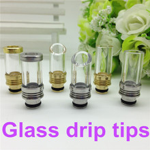 6 Types 510 Drip tips Pyrex Glass Stainless Steel Drip tip Mouthpiece e cigarette tank drip tip for WAX cig Atomizer