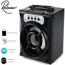 Redmaine Portable MS-132BT Mini Wireless Bluetooth Square Speaker FM Radio LED Shinning TF/SD Card Music Playing 16G/32G SD/TF