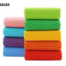 9PCS/lot Rainbow Color Thin Cotton Fabric Dots Print Fabrics Fat Quarter Bundle Tissues For Dress Patchwork Bags Pillows 50*50cm(China)