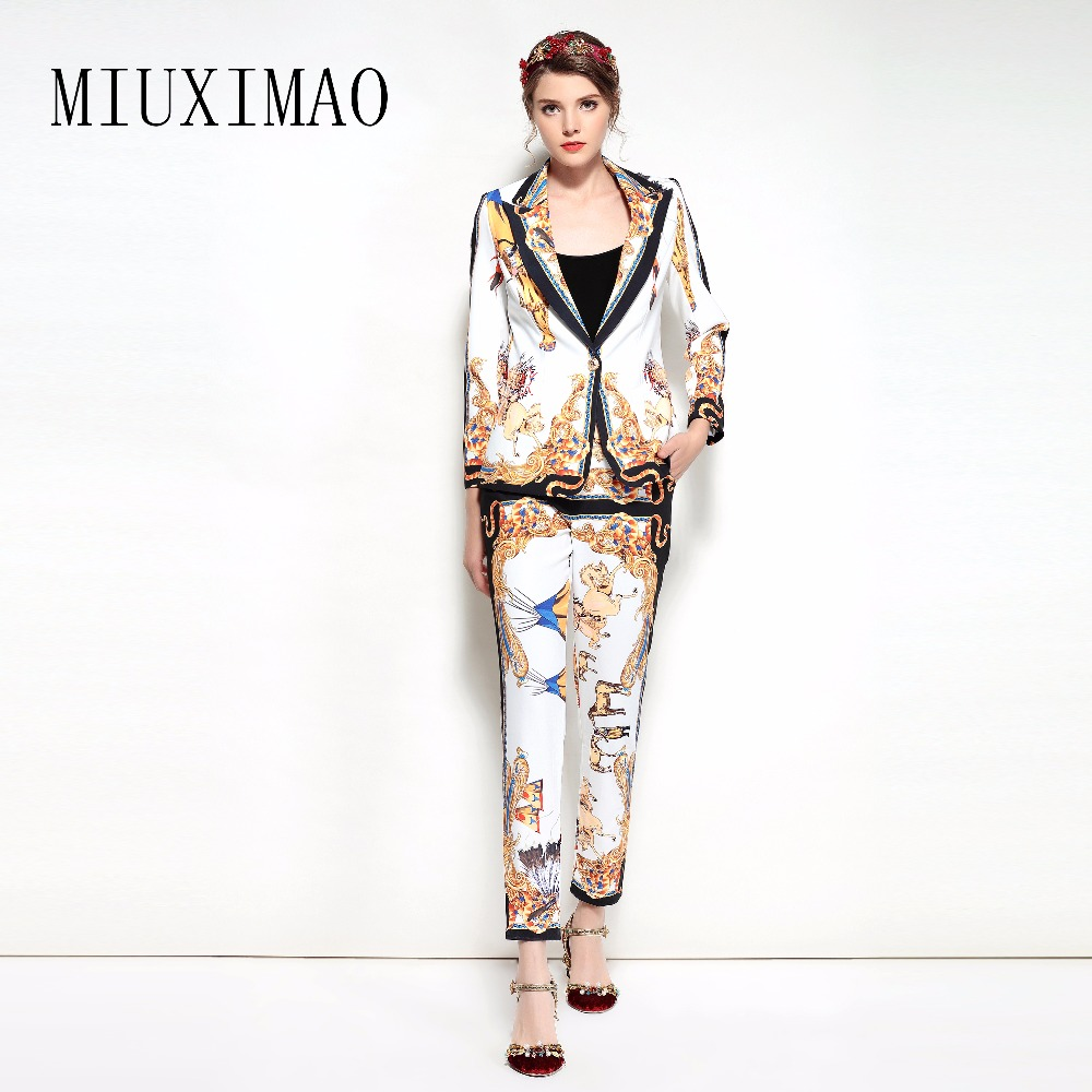 2018 New Arrival Spring & Summer Suit Sets 2 Piece Full Sleeve Floral Print Full Length Pant Suit Women