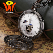Ouyawei Automatic Moon Phase Mechanical Vintage Black Pocket Watches Skeleton Men Clock Necklace Pocket & Fob Watch With Chain