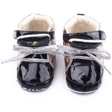 2016 New Fashion Handsome PU Leather 3Colors 3Sizes Infant Toddler Crib Bebe Boy Girl Kid Prewalker Shoes Newborn Solid Boots