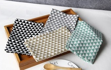 Rectangle table mats triangular pattern Cotton Linen Fabric 4 colors table mats for dining table Decoration Accessories