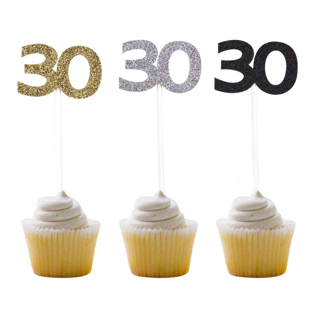Thirty Birthday Decorations 30th Anniversary Party Decor Black Gold Silver Number 30 Paper Cupcake Topper 12pcs