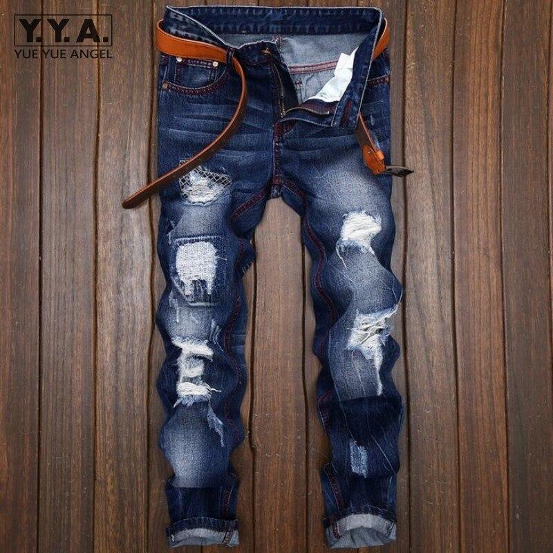 Personality Punk Mens Jeans Trousers Hole Ripped Denim Pants Back 2017 Fashion Embroidery Cowboy Retro Pantalones Free ShippingÎäåæäà è àêñåññóàðû<br><br>
