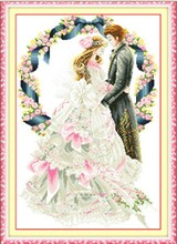 Wedding lovers cross-stitch kit cotton silk thread 11ct cross stitch printed married bride DIY handmade sewing set gift idea